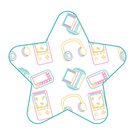 label shape star retro video game headphones pager roll photo vector illustration color line design