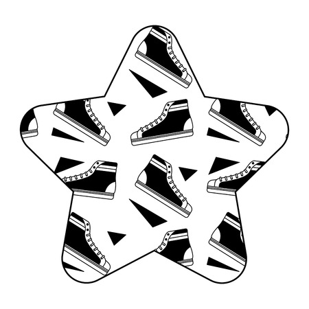 label shape star retro classic sneakers vector illustration black image