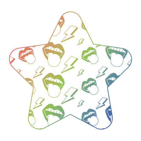 label shape star retro mouth tongue out rock and roll vector illustration color texture gradient