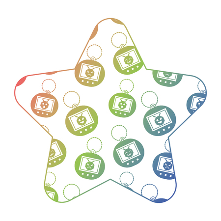 label shape star retro toy vintage tamagotchi vector illustration color texture gradient Illustration