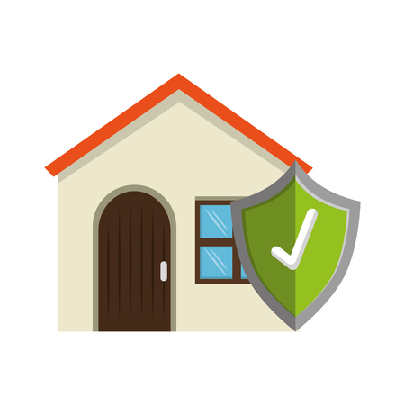 house with shield check icon vector illustration design
