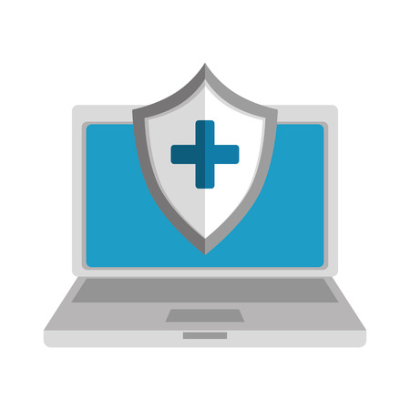 laptop computer with medical shield vector illustration design