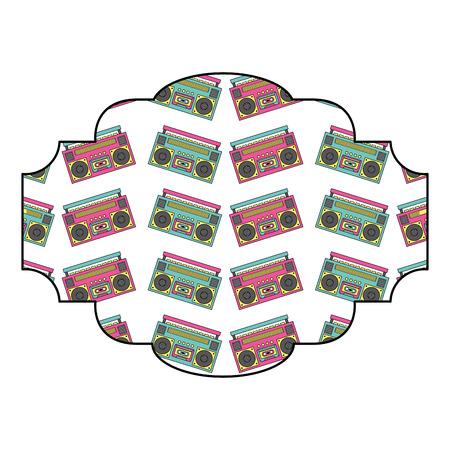 label pattern vintage stereo recorder player vector illustration Illustration