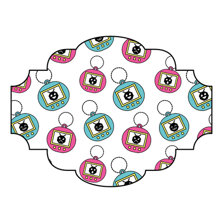 label patroon speelgoed retro tamagotchi vector illustratie