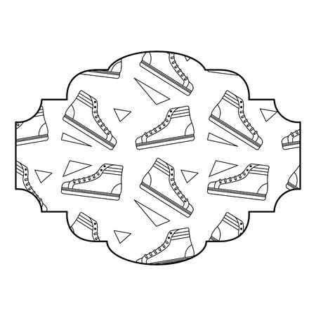 label pattern classic sneakers memphis image vector illustration outline design Çizim