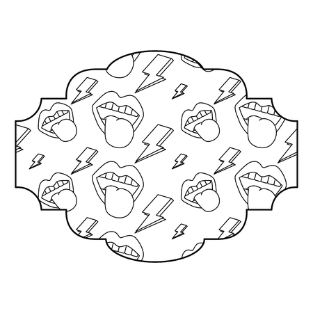 label pattern retro mouth tongue out rock and roll vector illustration outline design