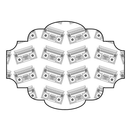 label pattern vintage stereo recorder player vector illustration outline design