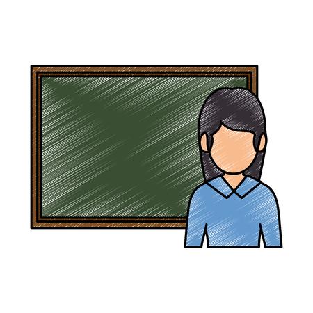 黒板を持った教師の女性。●アバターベクトルイラストデザイン。