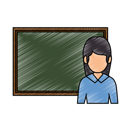 Teacher woman with chalkboard. Avatar vector illustration design. Иллюстрация
