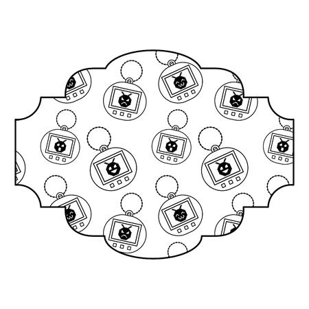 Progettazione del profilo dell'illustrazione di vettore di tamagotchi del giocattolo del modello dell'etichetta retro Archivio Fotografico - 94433549