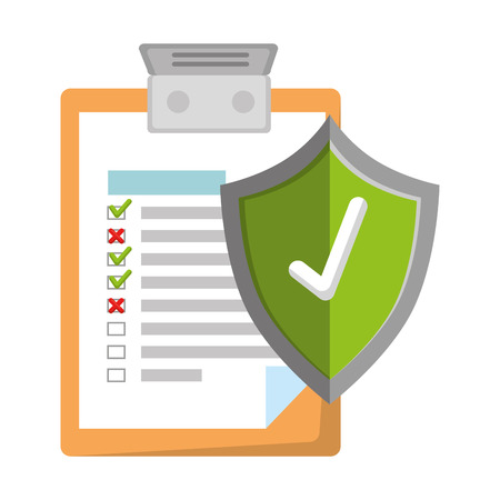 clipboard document with shield insurance vector illustration design Illustration