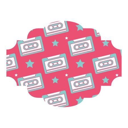 TIquette modèle cassette enregistreur vector illustration fond rose Banque d'images - 94524710