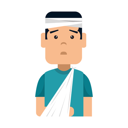 Man with bandages and arm broken character. Vector illustration design. Иллюстрация