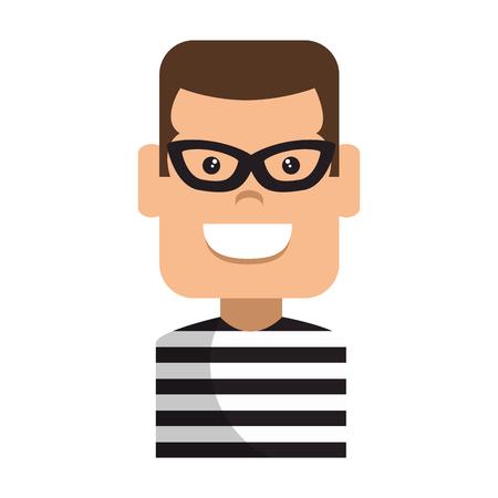 Thief male avatar character. Vector illustration design.