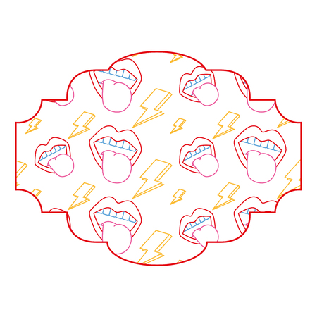 label pattern retro mouth tongue out rock and roll vector illustration color line design