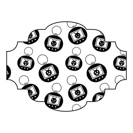 label patroon speelgoed retro tamagotchi vector illustratie zwart beeld