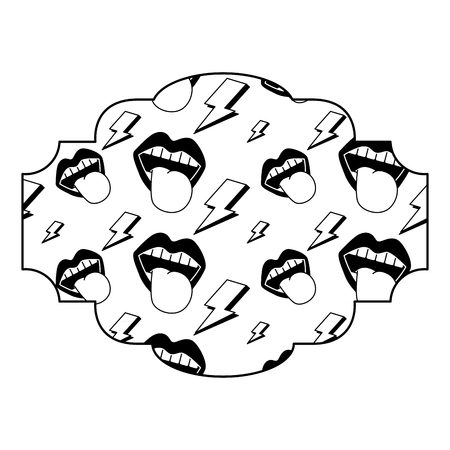 label pattern retro mouth tongue out rock and roll vector illustration black image Ilustração