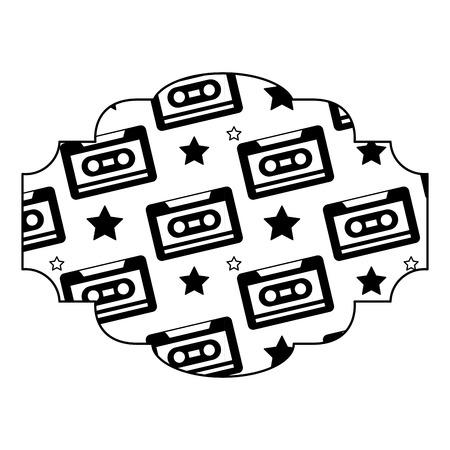 label pattern cassette tape recorder vector illustration black image