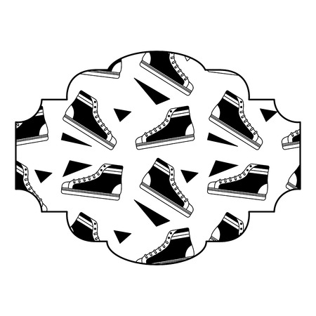 label pattern classic sneakers memphis image vector illustration black image Çizim
