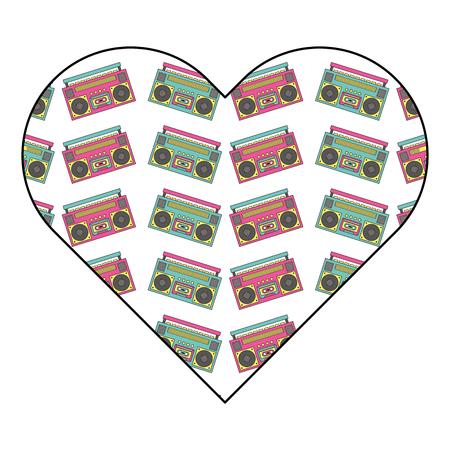 patroon vorm hart met stereo recorder speler vector illustratie Stock Illustratie