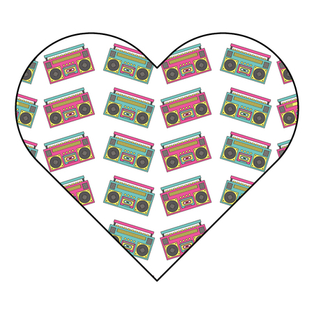 pattern shape heart with stereo recorder player vector illustration Illusztráció