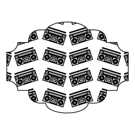 label pattern vintage stereo recorder player vector illustration black image 向量圖像