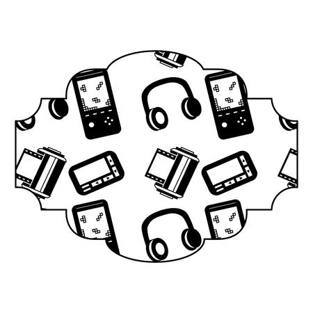 label pattern video game console vector illustration black image