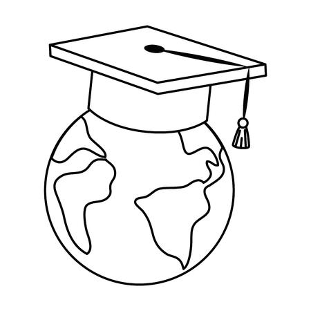 지구 행성 졸업 모자입니다. 벡터 일러스트 레이 션 디자인.