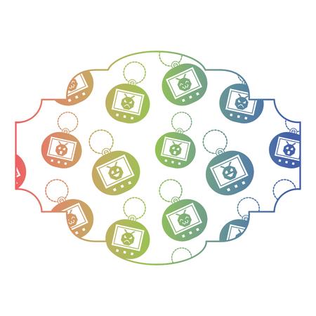 Gradiente di struttura di colore dell'illustrazione di vettore di tamagotchi del giocattolo del modello dell'etichetta retro Archivio Fotografico - 94524716