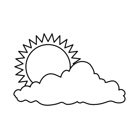 Summer sun with clouds. Vector illustration design. Иллюстрация