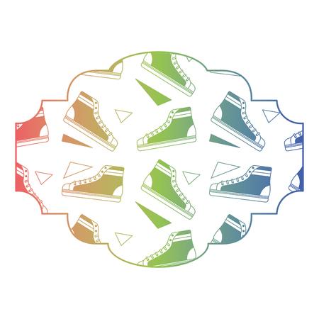 label pattern classic sneakers memphis image vector illustration color texture gradient