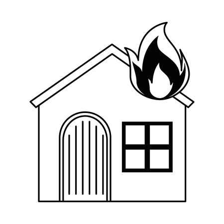House with fire flamer. Vector illustration design.