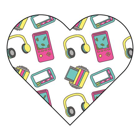 pattern shape heart with vintage video game headphones vector illustration