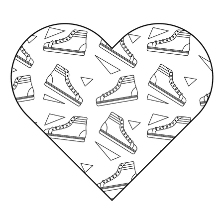 pattern shape heart with classic sneakers retro vector illustration outline design