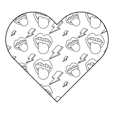 pattern shape heart with mouth tongue out rock and roll vector illustration outline design Ilustração