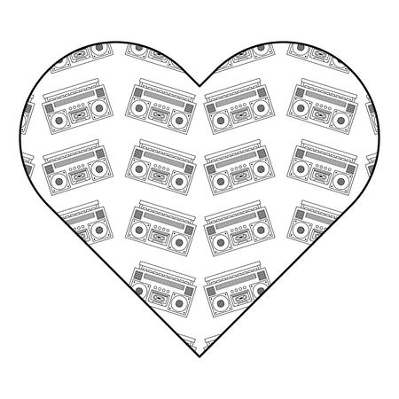 patroon vorm hart met stereo recorder speler vector illustratie overzicht ontwerp