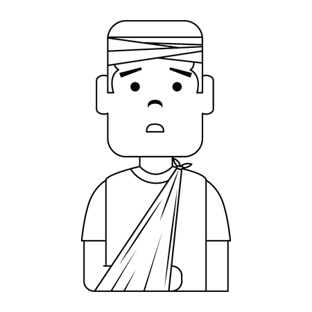 man with bandages and arm broken character vector illustration design Stock Illustratie