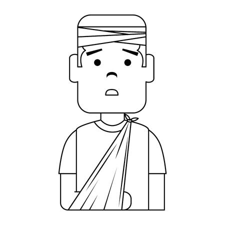 man with bandages and arm broken character vector illustration design Banco de Imagens - 94434388