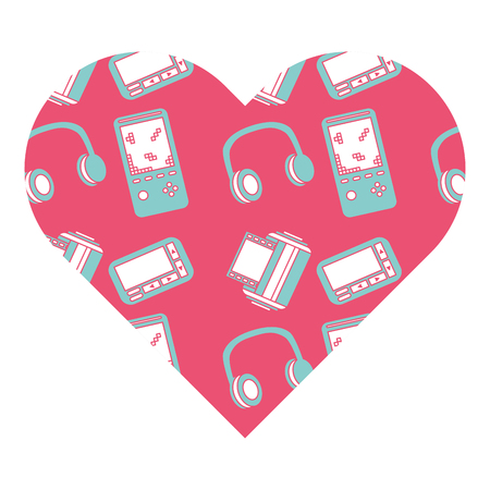 pattern shape heart with vintage video game headphones vector illustration pink background