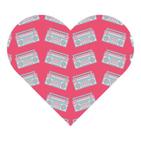 patroon vorm hart met stereo recorder speler vector illustratie roze achtergrond