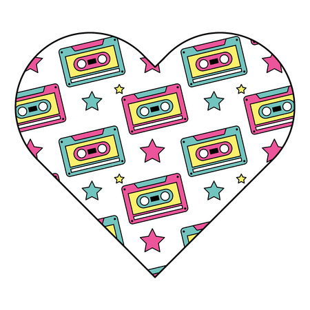 pattern shape heart with retro cassette tape recorder vector illustration Ilustração