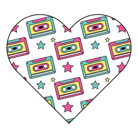 pattern shape heart with retro cassette tape recorder vector illustration Illustration