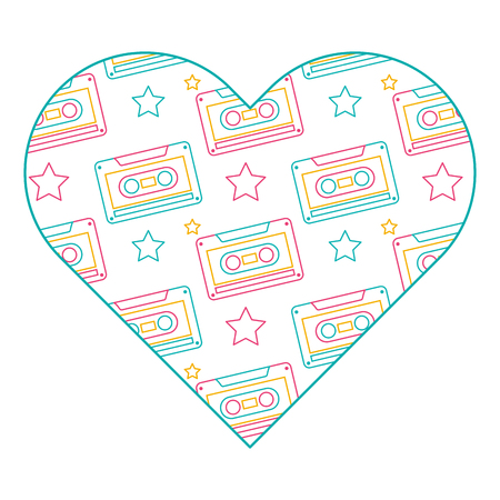 pattern shape heart with retro cassette tape recorder vector illustration color line design