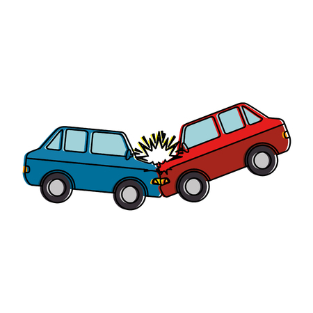 cars crash accident icon vector illustration design