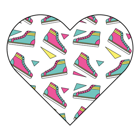 pattern shape heart with classic sneakers retro vector illustration