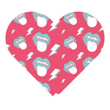 Coração de forma padrão com boca língua para fora rock and roll ilustração vetorial fundo rosa Foto de archivo - 94434499