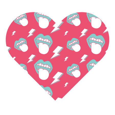 pattern shape heart with mouth tongue out rock and roll vector illustration pink background