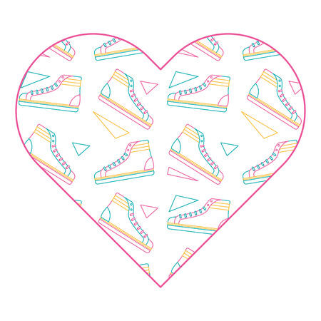 pattern shape heart with classic sneakers retro vector illustration color line design