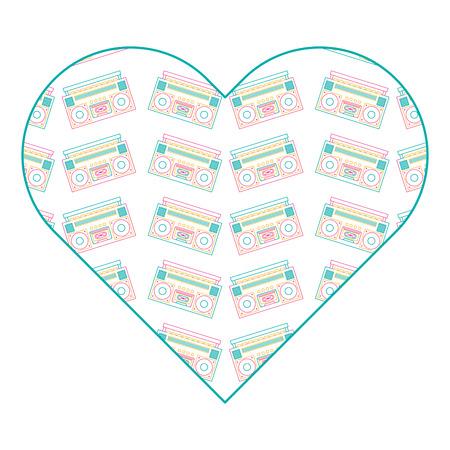 patroon vorm hart met stereo recorder speler vector illustratie kleur lijn ontwerp