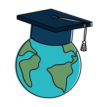 earth planet with graduation hat vector illustration design